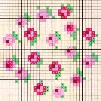 Miniature needlework chart for roses pattern.