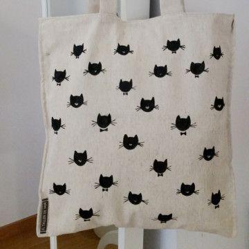Tote bag de loneta de algodón de color crudo con estampación de gatitos. Hecho y pintado a mano.