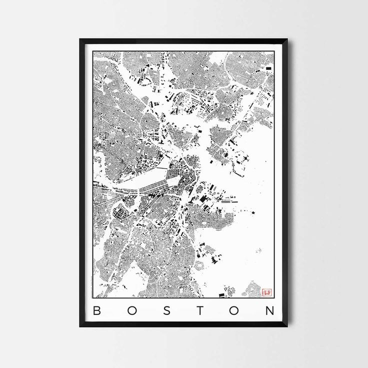 Boston schwarzplan map art city posters. Unique interior decor idea for offices art posters or kitchen art prints.  Minimalist city art gifts for travelers as framed art or canvas wall art. Urban plan map style. print, poster, gift | CityArtPosters.com