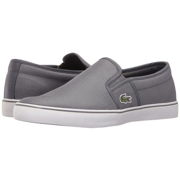 Lacoste Gazon 316 2 (Dark Grey) Women's Shoes ($75) ❤ liked on Polyvore featuring shoes, flats, pull on shoes, lacoste, slip on shoes, round toe shoes and dark grey shoes