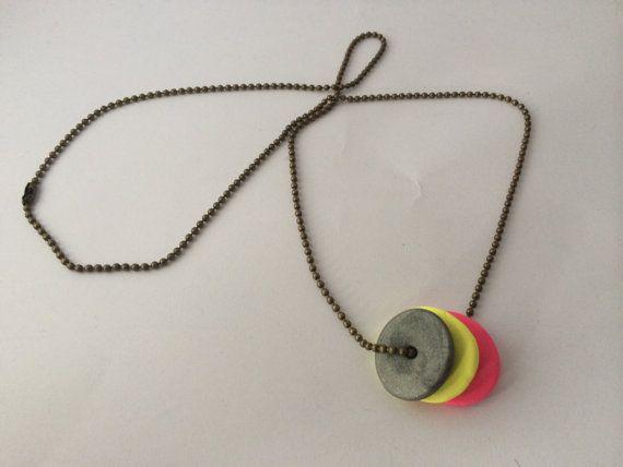 Polymer clay necklace with three circular by BillyandElizabeth, $15.00