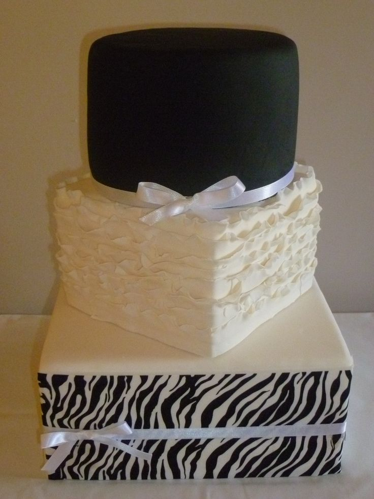 3 tier black and white themed wedding cake