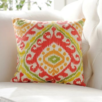 We can't get enough of the beautiful colors of the Red & Orange Hayley Pillow! #Kirklands #BedandBath