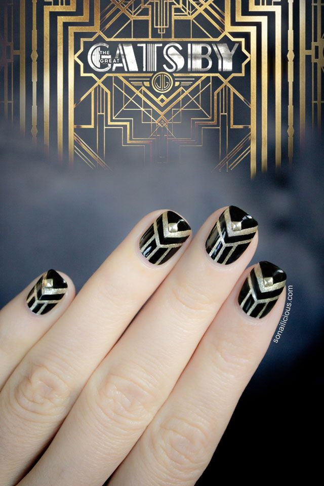 The Great Gatsby inspired nails. Click to see the Gatsby nail art tutorial.