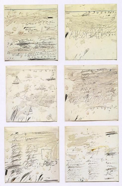"""firstofficial:    Poems to the Sea by Cy Twombly I-IV 1959    """"He visualises with loving colours the silent space that exists between and around words.""""          - John Berger"""