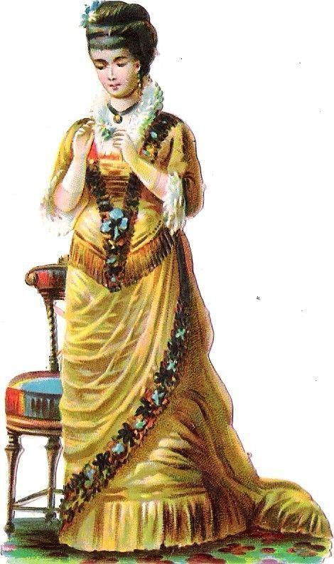 Oblaten Glanzbild scrap die cut chromo Dame lady 10,2cm femme girl: