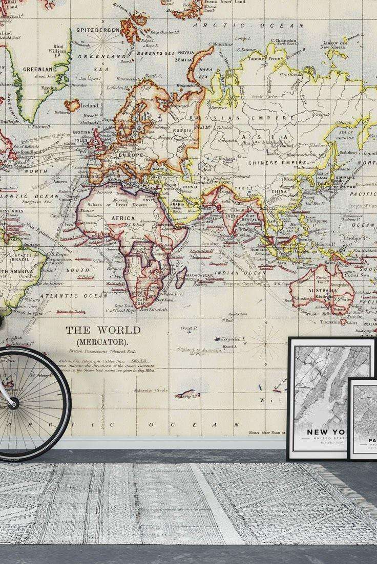 Old World Map Wall Mural   Wallpaper Part 92