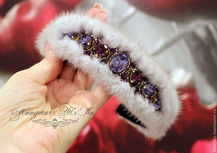 """Купить Ободок из меха норки """"Грезы"""" - фиолетовый, сиреневый, ободок, ободок для волос, ободок из меха"""