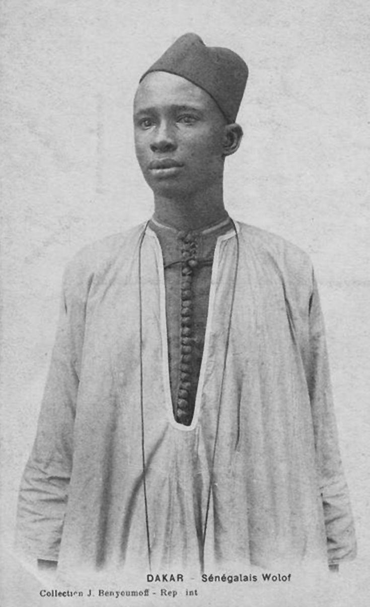 "Africa | ""Sénégalais Wolof"". Dakar. Post stamped 1918 || Vintage postcard; publisher J Benyoumoff."