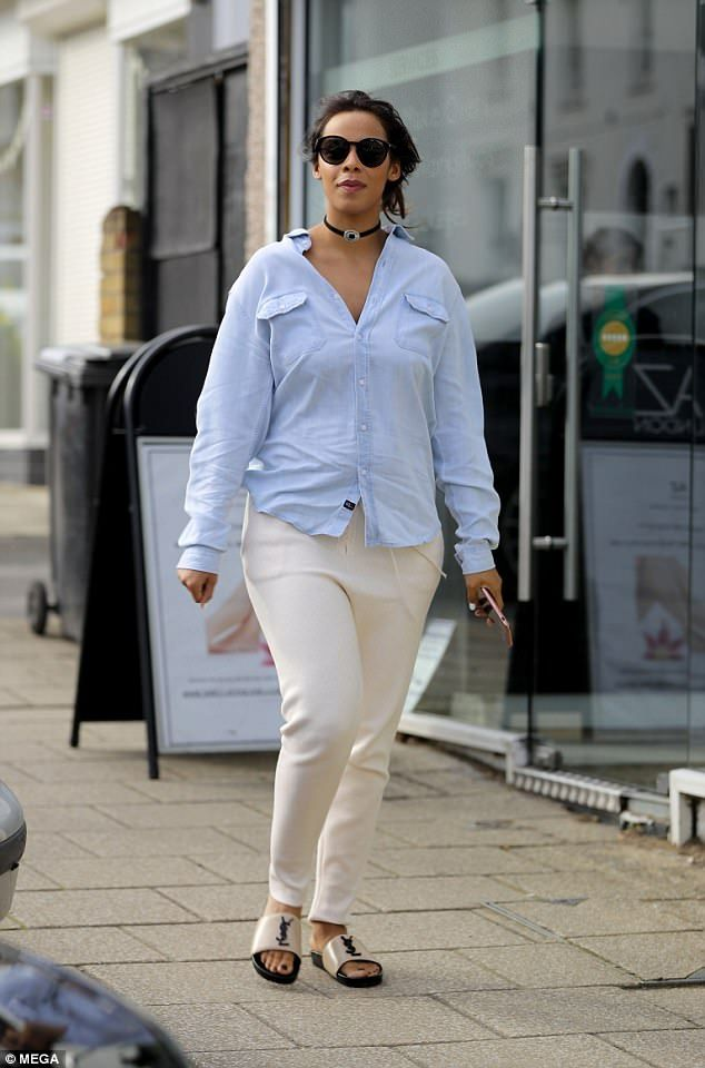 Mum's the word! Rochelle Humes, who recently welcomed the her second child with husband Marvin, looked absolutely sensational as she showcased her post baby body as she ran errands in Essex on Friday