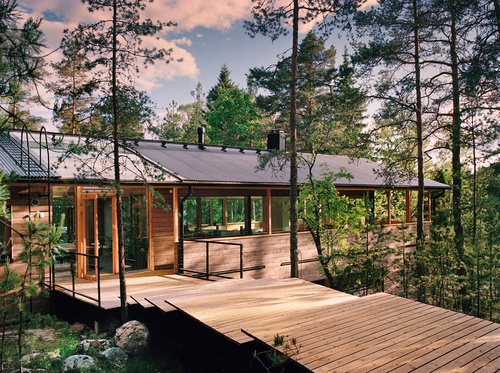 Modern house in woods dream dwelling pinterest modern houses house and woods - Houses woods nature integrated ...