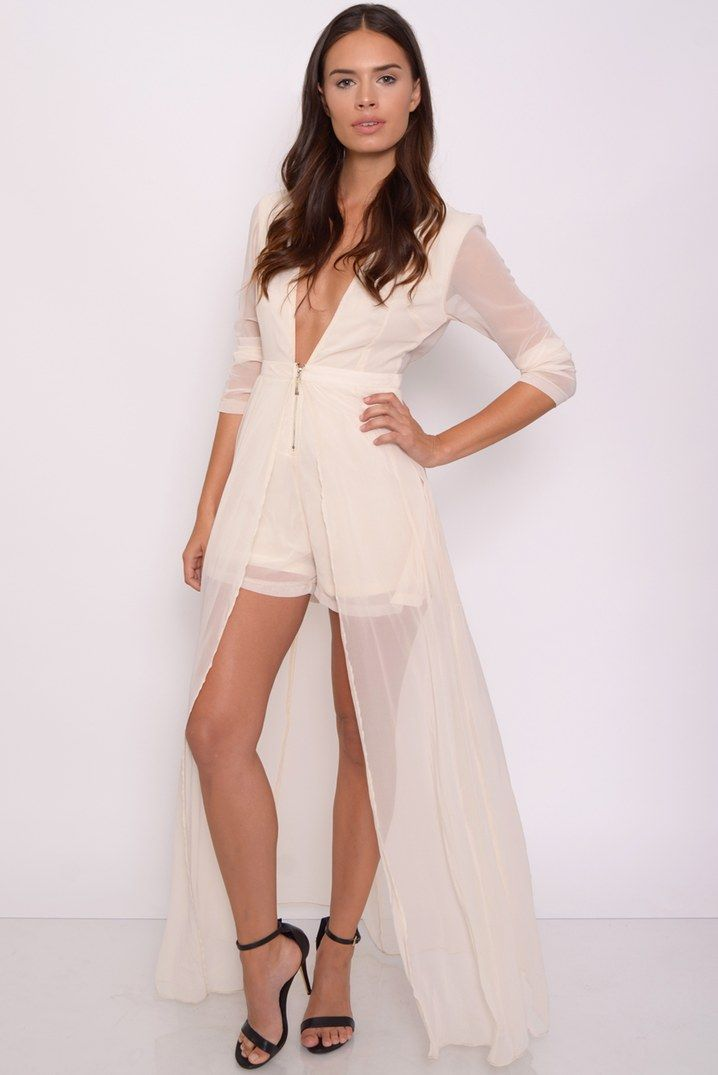 Image for Cream Playsuit with Maxi Overlay rarelondon.com