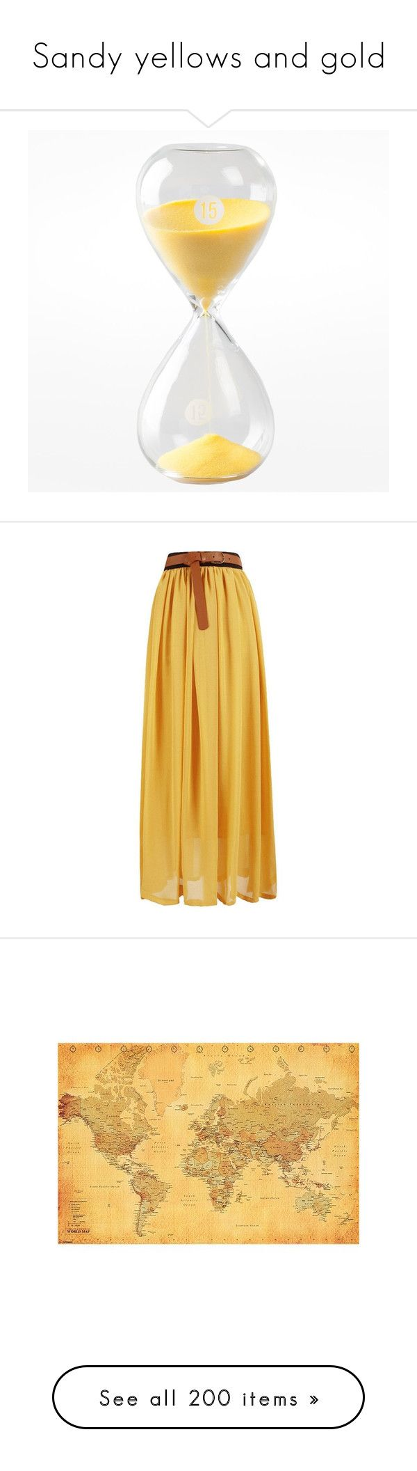 """""""Sandy yellows and gold"""" by ravenleeart ❤ liked on Polyvore featuring home, kitchen & dining, kitchen gadgets & tools, skirts, saias, yellow, high waisted long skirt, high waisted chiffon maxi skirt, chiffon maxi skirt and high-waisted maxi skirt"""