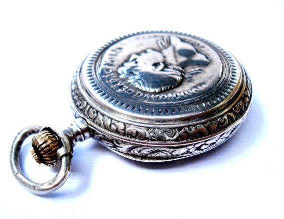 Antiguo Reloj Bolsillo Suizo LONGINES Cazador Art por shopvintage1