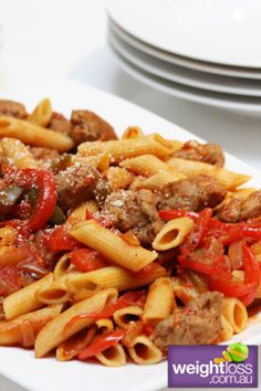 Healthy Pasta Recipes: Cajan Sausage Penne. weightloss.com.au  #HealthyRecipes #WeightlossRecipes #DietRecipes