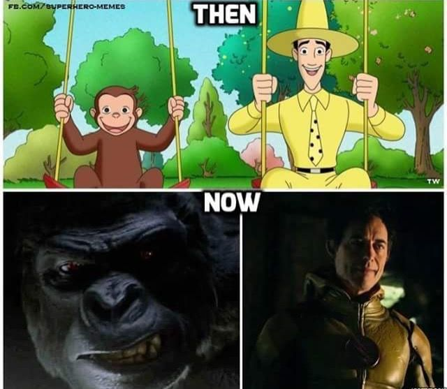 Curios gorge gorilla grodd and Harrison Wells reverse flash yellow memes funny