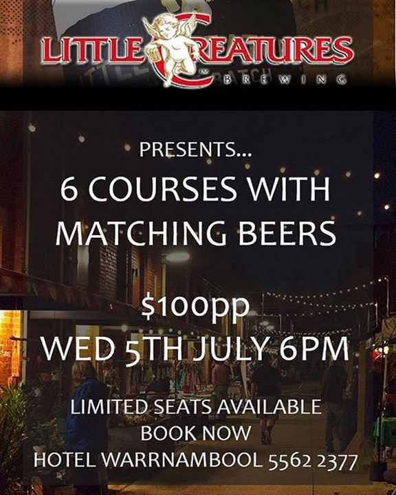 #Repost @eat3280  Book now for this great event at #hotelwarrnambool with @littlecreatures on July 5th. #warrnambool #destinationwarrnambool #warrnamboolrestaurants http://ift.tt/2rtPVCg
