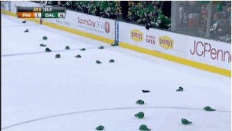 Watch Jamie Benn pick up hats for Tyler Seguin following hat trick | Dallas Morning News