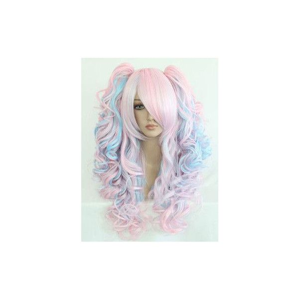 Ships From Usa Long Lolita Cotton Candy Hair Wig 31 Inch Long Loose... (610 SEK) ❤ liked on Polyvore featuring accessories, hair accessories, hair, silver and long hair accessories