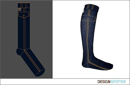 Knee socks.  Designer: Artur GRAB (Poland)  Manufacturer: (Poland)  Inspired By: Jeans trousers  Material: Cotton, polyamid, elastan  Colours: Blue  Dimension: size 35-41