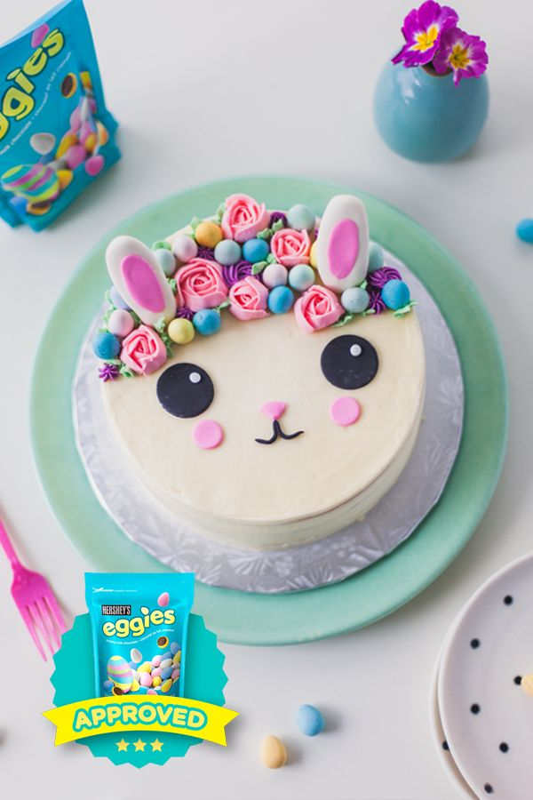 Make your buttercream bunny cake shine with a HERSHEY'S Eggies flower crown. This EGGIES Star winning recipe from @cococakeland is as delicious as it is cute. Share your own #eggiescreations this year and you just might be recognized too!