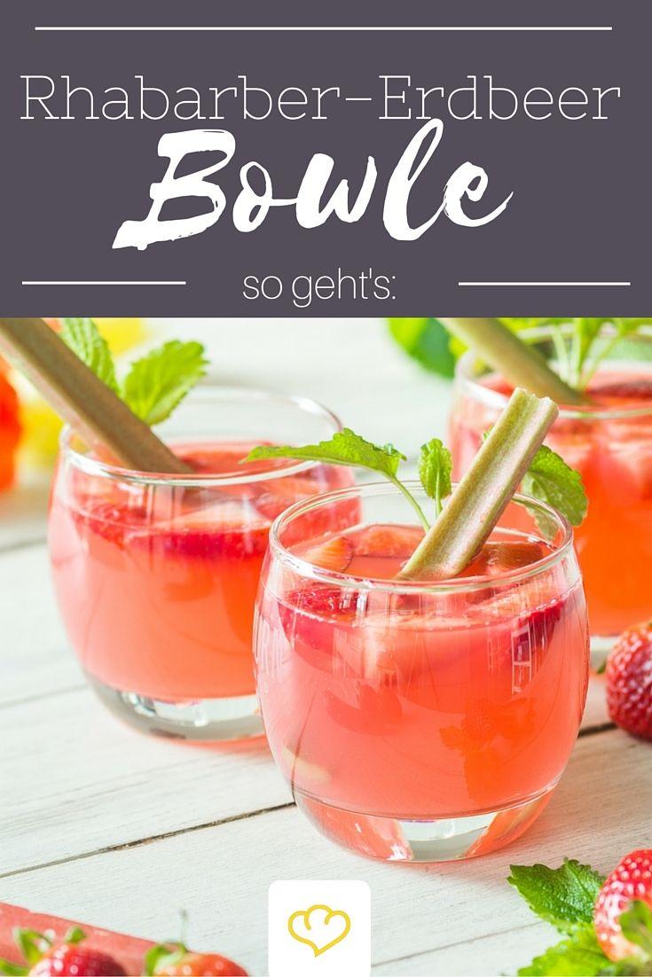 Rhabarber-Erdbeer-Bowle für die nächste Garten-Party!