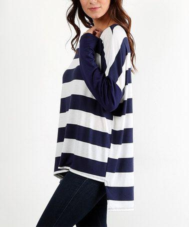 Look at this #zulilyfind! Navy Stripe Hi-Low Tunic #zulilyfinds