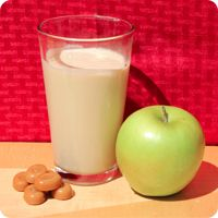 Caramel Apple | • 8 Tbsp Almased • 1 cup unsweetened almond milk • 1/2 cup unsweetened apple sauce • 1 Tbsp almond butter • 1/4 tsp caramel extract | One serving contains: 325 calories, 29 g protein, 32 g carbs, and 9 g fat