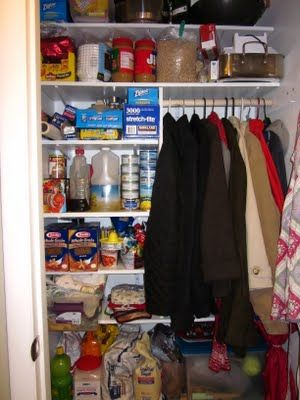 coat closet and pantry combo - like this, but more 1/2 & 1/2 & less mess