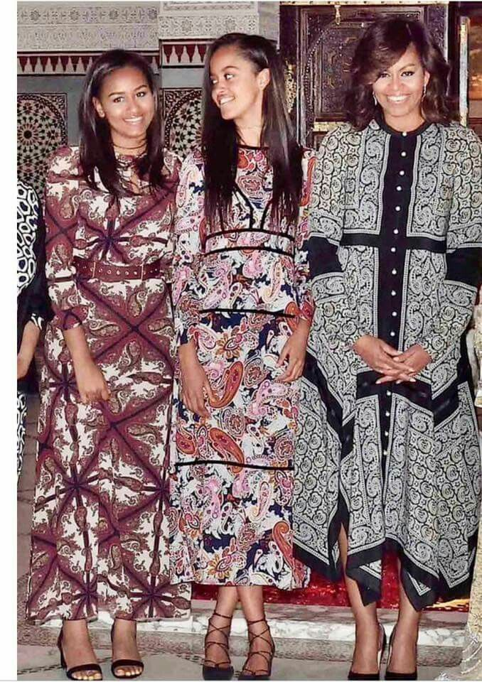 First Lady Michelle Obama and daughters Sasha & Malia in Morocco, 2016