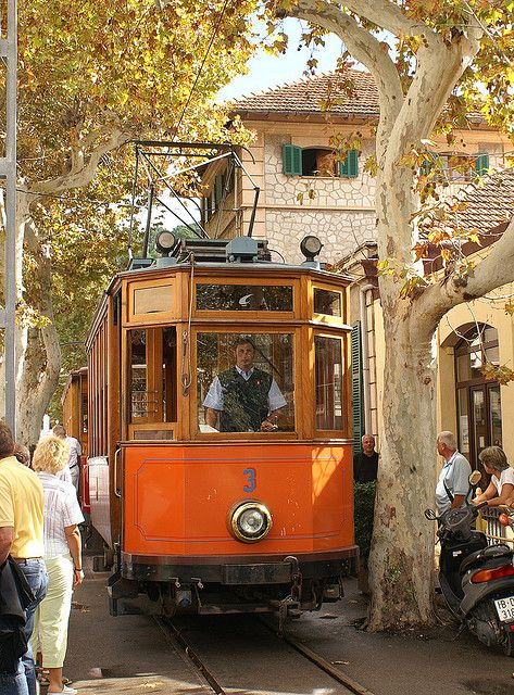 The Tramvia just entering the square from the train station where it starts it route in Soller in Mallorca