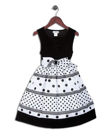 Look what I found on #zulily! Black & White Polka Dot Dress - Infant, Toddler & Girls by Joe-Ella #zulilyfinds