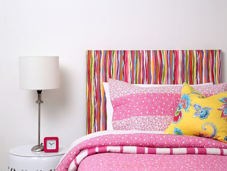 CoverQuick Headboard - A fun look for a girls room that can be easily updated as you child grows with the unique CoverQuick DIY Headboard from Harvey Furnishings.