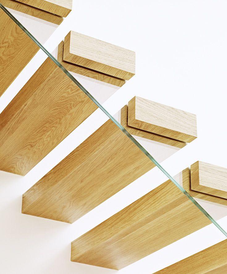 ST910 Schody wspornikowe (częściowo dywanowe), wykonane z olejowanego dębu. Balustrada ze szkła z drewnianym pochwytem. Realizacja wykonana w domu prywatnym, projekt – Alba Labuda & TRĄBCZYŃSKI