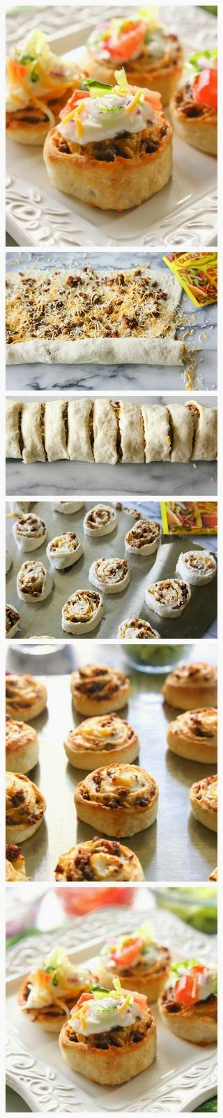 Taco Pizza Rolls - they look kinda gross put the display with the sour cream and tomatoes on top look delish!