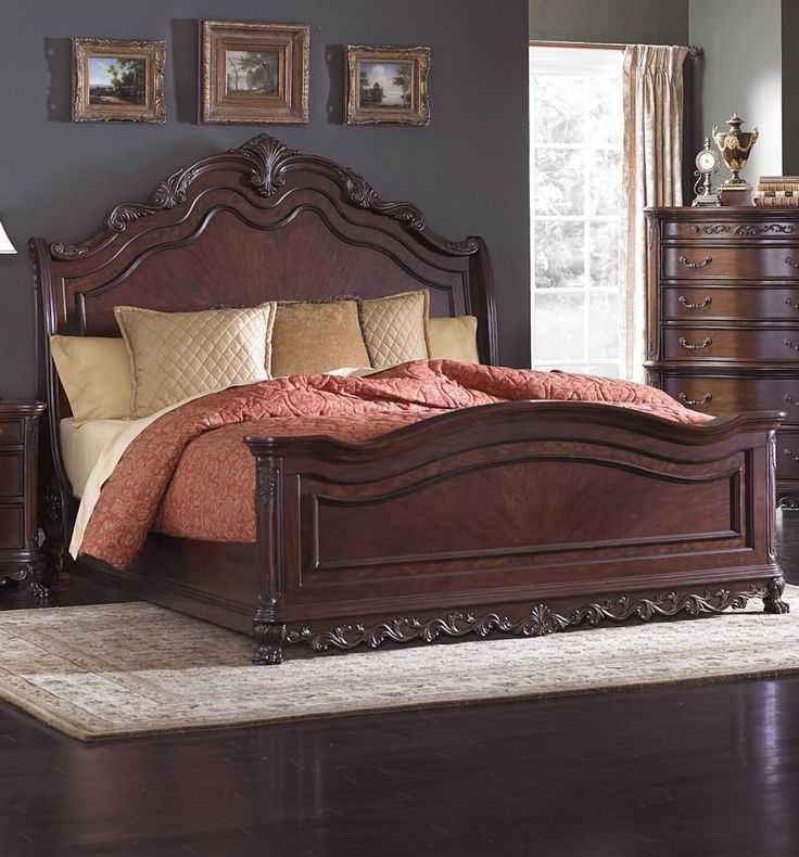 25 best ideas about Sleigh bed frame on Pinterest Dark wood bed