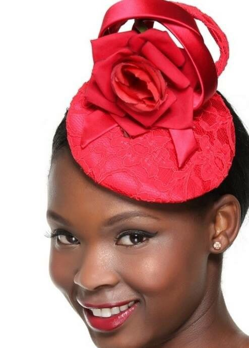 Red lace & satin Fascinator