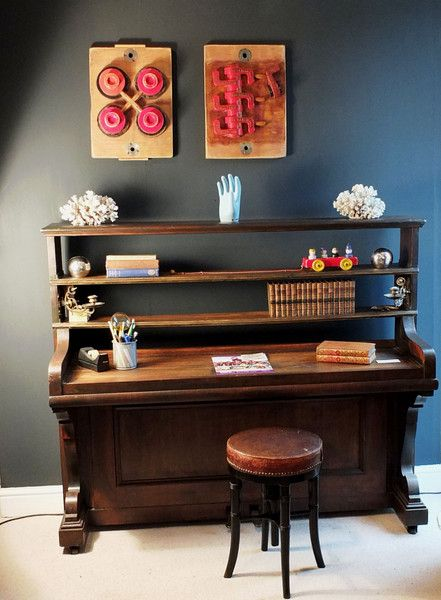Converted Upright Piano - Desk - Astley House Interiors