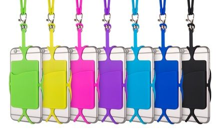 Lanyard with a detachable smartphone holder lets you wear your phone around your neck or wrist, and has a built-in card slot