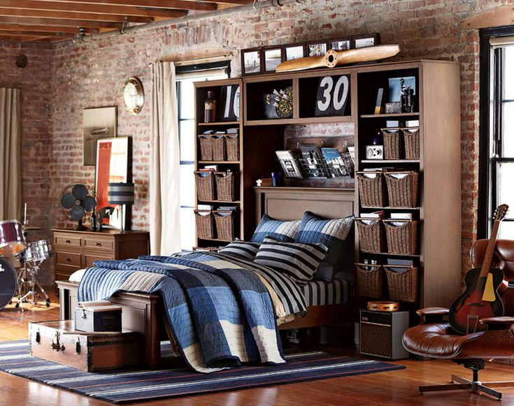 Teenage Guys Bedroom Ideas | Wall Storage | PBteen