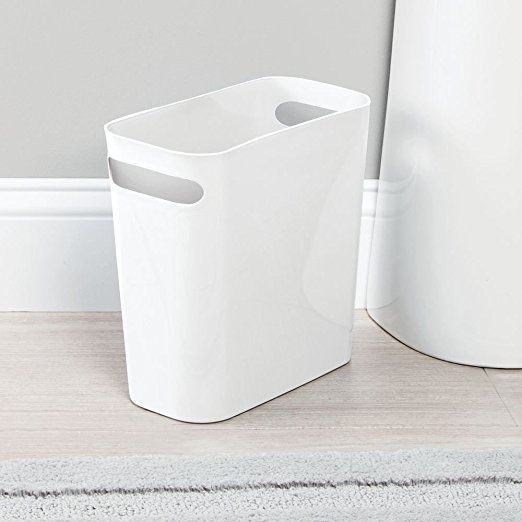 InterDesign Una Rubbish Bin with Handles, Plastic Wastepaper Bin for Office, Kitchen or Bedroom, White: Amazon.co.uk: Kitchen & Home