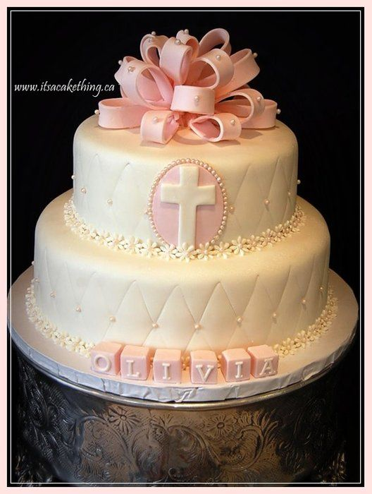 Bow Baptism Cake for a Girl www.itsacakething.ca