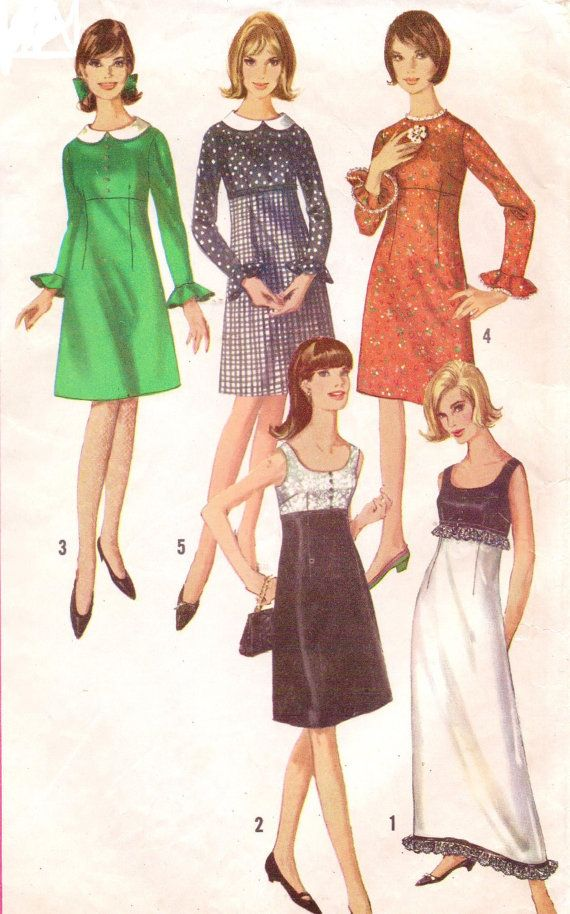 1960s Simplicity Sewing Pattern 6216 Womens Empire by CloesCloset