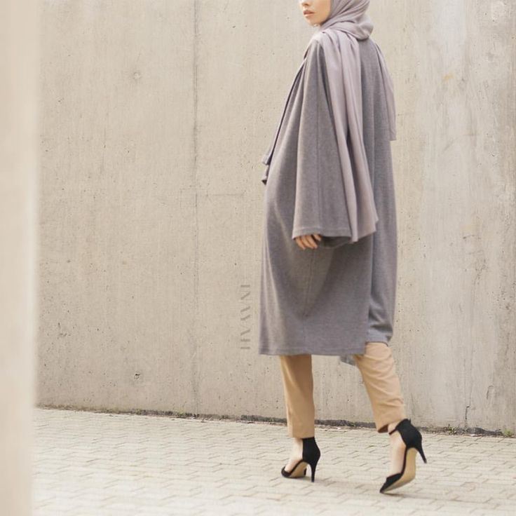 INAYAH   Camel Pleated #Trousers + Dark Grey Knitted #Cape www.inayah.co