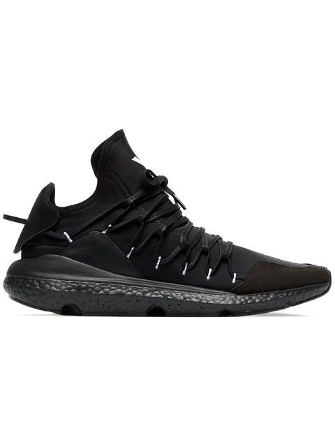 a1b5067e7205a Y-3 Black Leather Kusari Sneaker in 2019