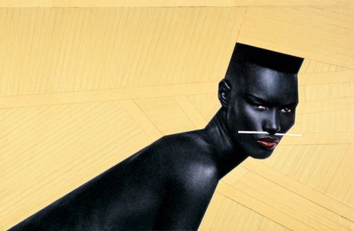 Grace Jones, photo by Jean-Paul Goude.  Grace is a Jamaican-American singer, model and actress.  An androgynous beauty and also a little scary.