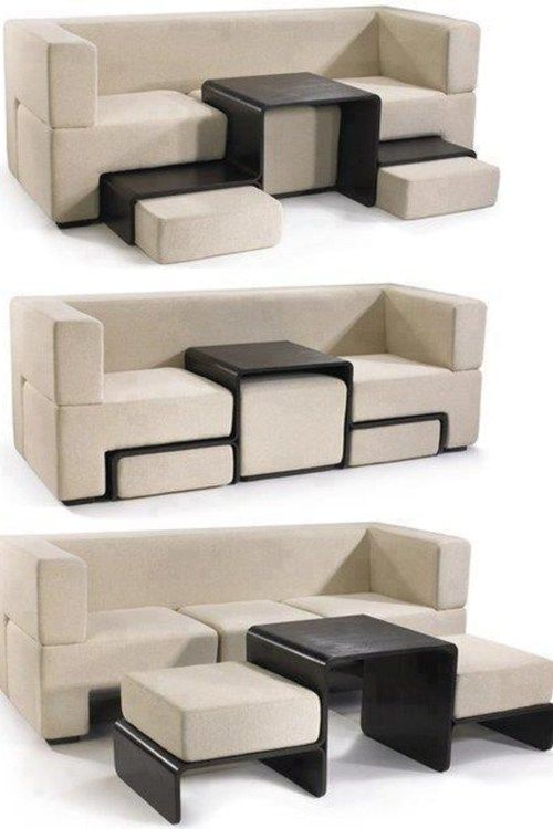Modular Slot Sofa: Usually a sofa is just a sofa and nothing more, but Slot is a dynamic piece of furniture that finds new value and diverse functionality by blending the sofa, coffee table, and ottoman. When slotted, the table acts as a console. When freed, it acts as a coffee table. The magnetically retained sofa cushions always find and keep their optimal position either atop the table for an ottoman or below for a coffee table. http://designrulz.com