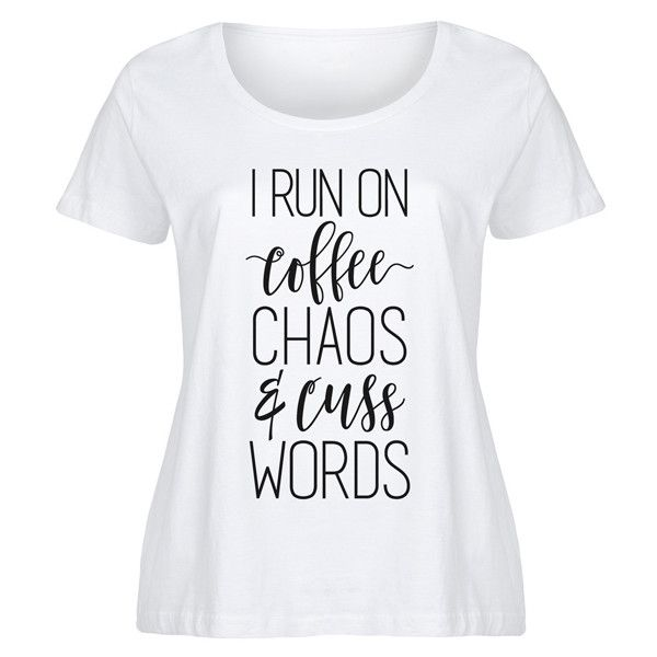 It's Just Me Plus White 'Coffee Chaos & Cuss Words' Scoop Neck Tee ($17) ❤ liked on Polyvore featuring plus size women's fashion, plus size clothing, plus size tops, plus size t-shirts, plus size, scoop-neck tees, white graphic t shirt, plus size t shirts, sports t shirts and plus size tees