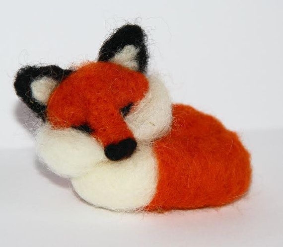 sweet tiny Red Fox  needle felted miniature small by nutkaart