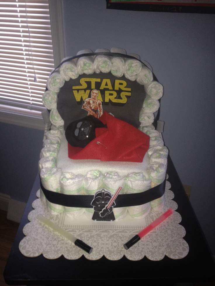 Star Wars inspired diaper cake includes wipes and t-shirt for baby!